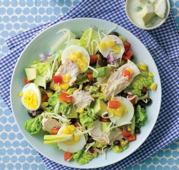 Southwestern Cobb Salad with Avocado Ranch Dressing - (And it takes less than 20 minutes to whip up.)