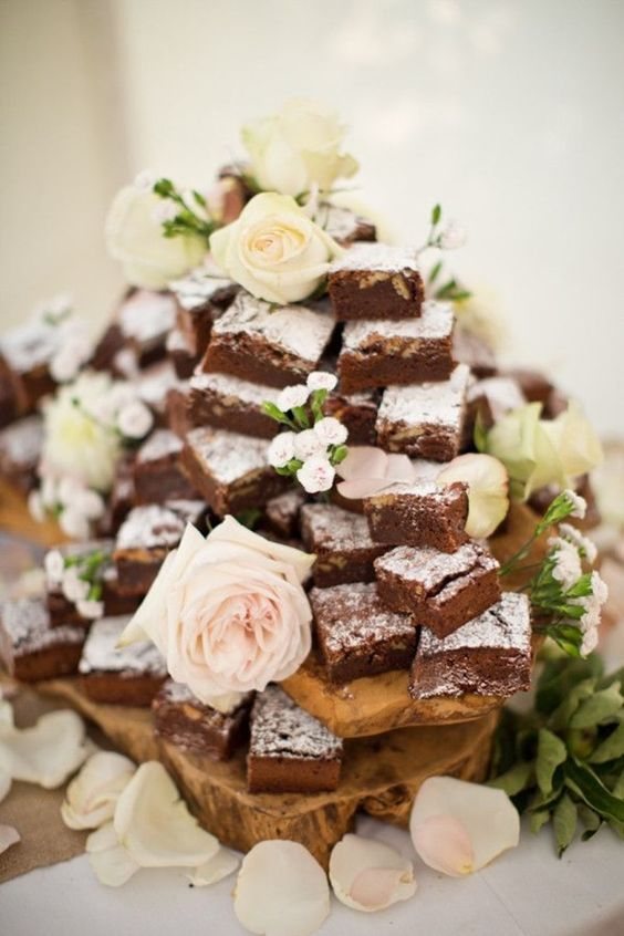 Brownie tower - alternative wedding cake tower ideas: