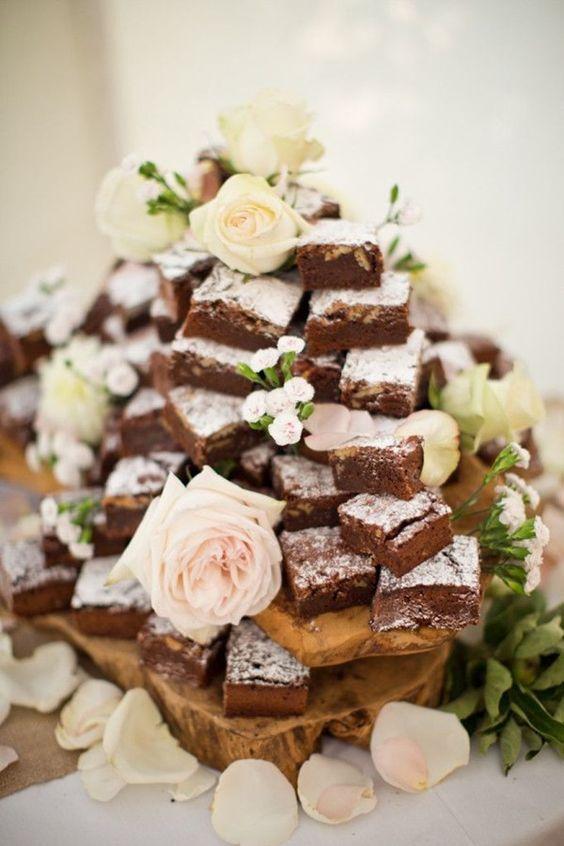 alternaitive wedding cake idea brownie tower