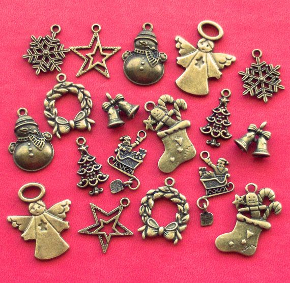 CHRISTMAS Charm mix, 18 charms, 9 designs, tibetan silver style, antique bronze tone, UK seller
