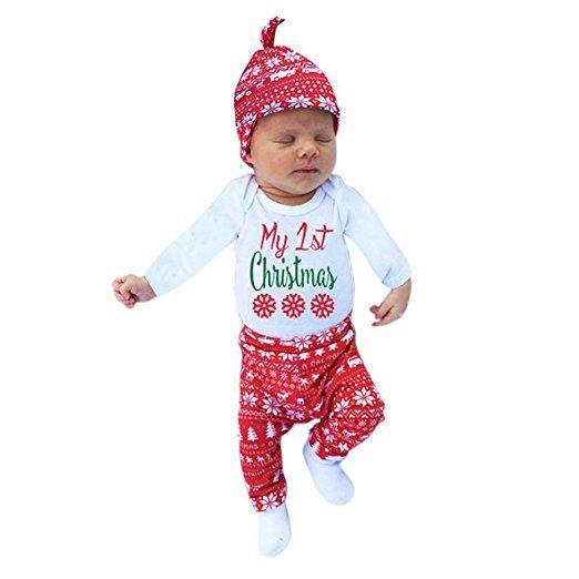 Patgoal Baby Mädchen Weihnachten Kleidung Weihnachtskostüm Hüte+Hosen+Bodys