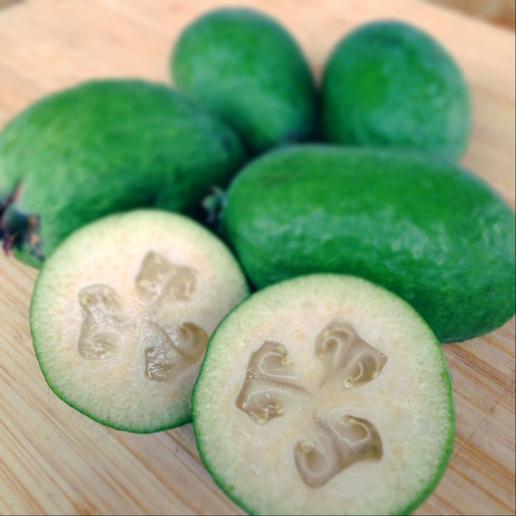 Have you seen a green fruit for sale in the Bay of Islands and wondered what it is? No, it's not a naked kiwi fruit; it's a feijoa (pronounced: FEE-joer).
