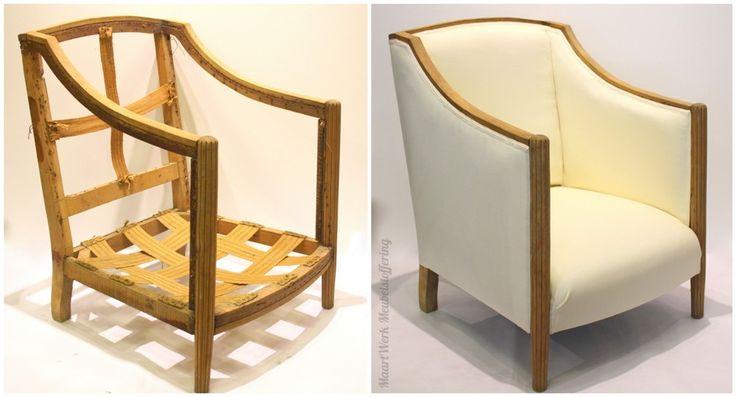 Eindresultaat Art Deco fauteuil. Zijaanzicht.