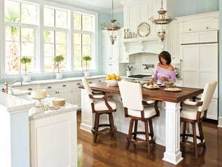 another beautiful kitchen: Blue Wall, Wall Color, Blue Kitchens, Islands, Bar Stools, Kitchens Idea, White Cabinets, Dream Kitchens, White Kitchens
