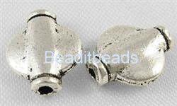 Tibetan - 10 x 8mm, Silver - lead free 20pc pack