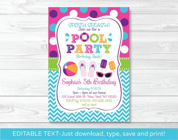 Girls Pool Party Birthday Invitation / by LittlePrintsParties