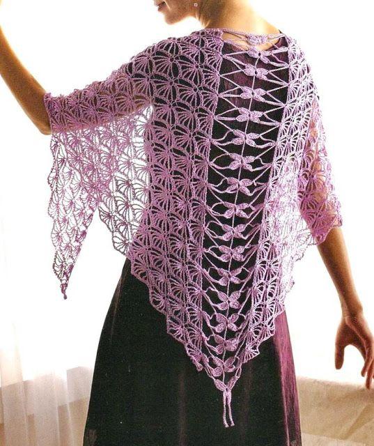 Crochet Shawls: Crochet Shawl - Elegant Silver Silk Shawl - Free Crochet Pattern