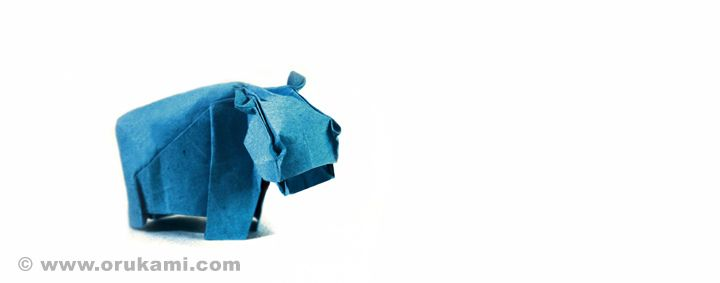 Fabian Correa Gomez Origami Hippo. Folded and photographed by Himanshu Agrawal.
