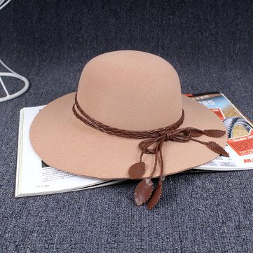 Women Ladies Cotton Blend Bowler PU Leave Belt Trilby Fedora Cap Wide Brim Cowboy Hat at Banggood
