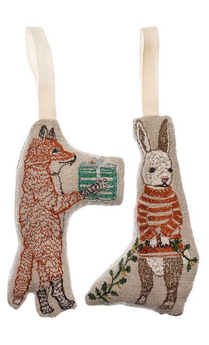 Stitched woodland ornaments