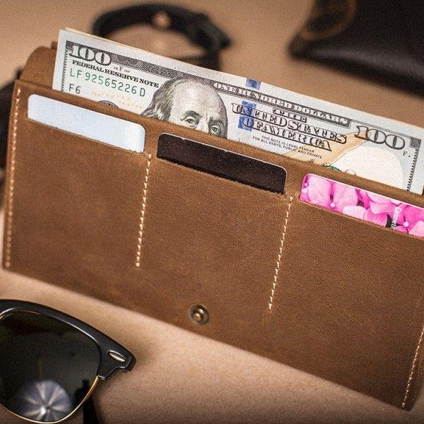 Dámská kožená peněženka - světle hnědá
