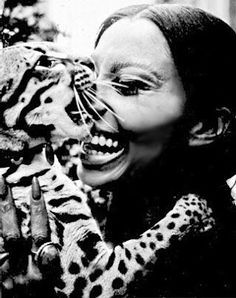 Donyale Luna with Salvador Dali's pet Ocelot, Babou   1966