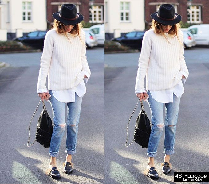 Best street style outfits of the week #street #style #outfit #casual #fashion #blogger #round #fetr #hat #white #button #down #shirt #oversized #grey #sweater #gucci #fur #flats #loafers #slippers #sliders #trendy #casual #outfit #relaxed #smart #dressedup #bacsic #wardrobe