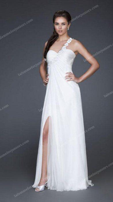Grecian Open Back La Femme 16760 White Gown [La Femme 16760] - $186.90 : Juniors' Dresses | Cheap Prom Dresses 2014| Homecoming Dresses Discount