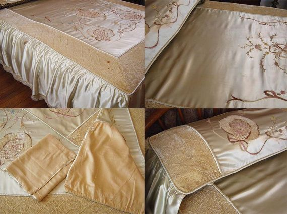 9 pc 1930's Silk Chenille Bedspread by BackThennishVintage on Etsy
