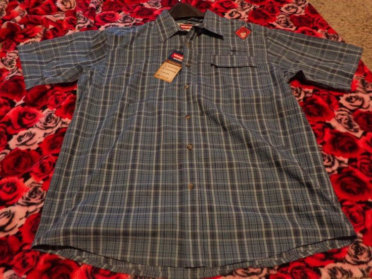 Mens Short Sleeve Shirt Fishing Utility Quick Dry Large Wrangler Originals NEW   #Wrangler #ButtonFront