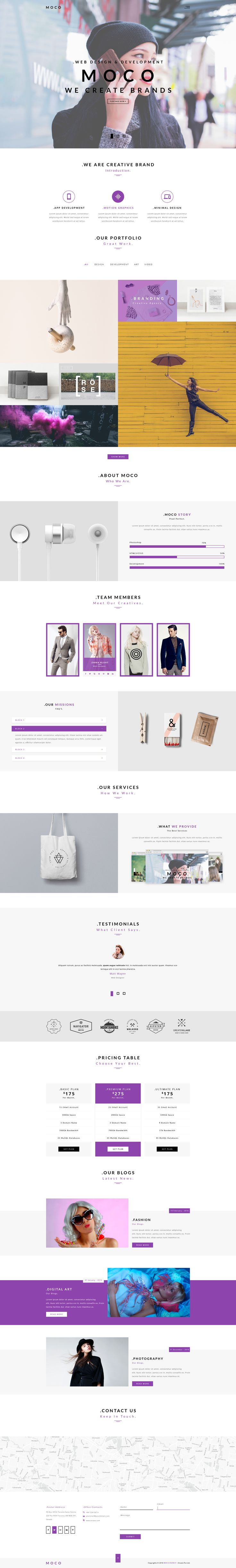 Moco Agency - Creative One Page Template - PSD Templates