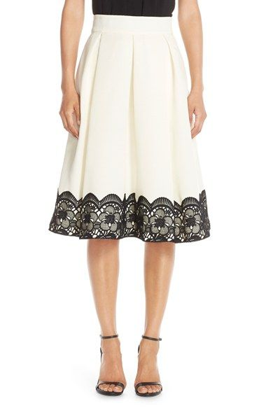 Eliza J Lace & Faille Midi Skirt available at #Nordstrom
