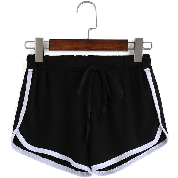 Contrast Draw Cord Waist Black Shorts ($12) ❤ liked on Polyvore featuring shorts, black, drawstring shorts, loose fit shorts, colorblock shorts, loose shorts and color block shorts