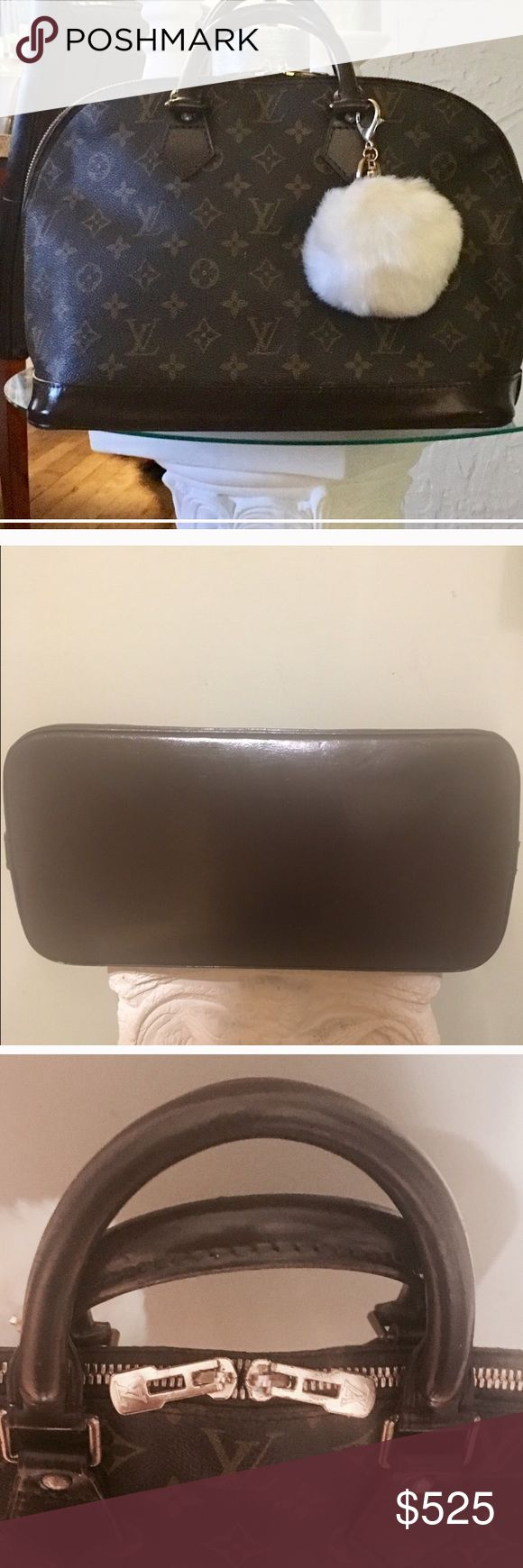 💯% Authentic Louis Vuitton Alma handbag Authentic Louis Vuitton monogram Alma handbag. Looks like new! Professionally dyed and sealed for protection a gorgeous chocolate color. Item information Brand nameLouis Vuitton Product nameAlma Size (aprx.)W 11.81 x H 9.06 x D 6.3 inch /  Handle/s drop 3.94 inch  MaterialMonogram PVC / leather ColorBrown Made inFrance AccessoriesNothing Comes with pompom keychain 😉 Louis Vuitton Bags