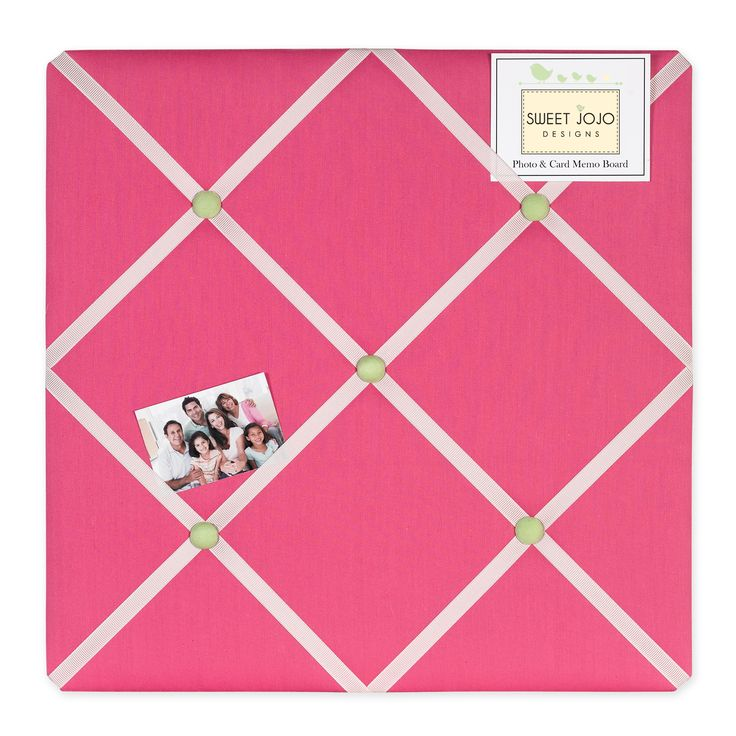 Show off postcards, notes and photos on this Sweet Jojo Designs Flower fabric memo board with button detail. Just slip your mementos behind the grossgrain ribbon to create an engaging piece of origina