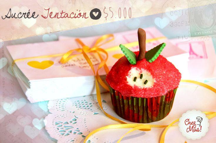 ¡Sucrée Tentación!   La manzana mordida de la tentación. Ese amor tentador que nos pone en el corazón dilemas y enredos que terminan siendo interesantes historias.   #amor #amistad #calico #cupcakes