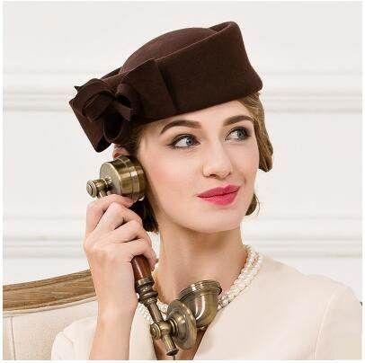 2fe7f7ea9686e Elegant bow pillbox hat for women plain coffee wool hats autumn ...