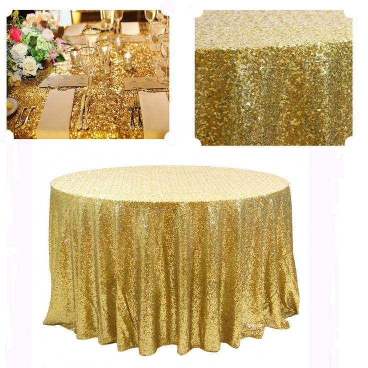 3 pcs Melhor Ajuste 132in Rodada de Casamento de Ouro de Malha de Lantejoulas Toalha De Mesa Entrega Amanhã(China (Mainland))