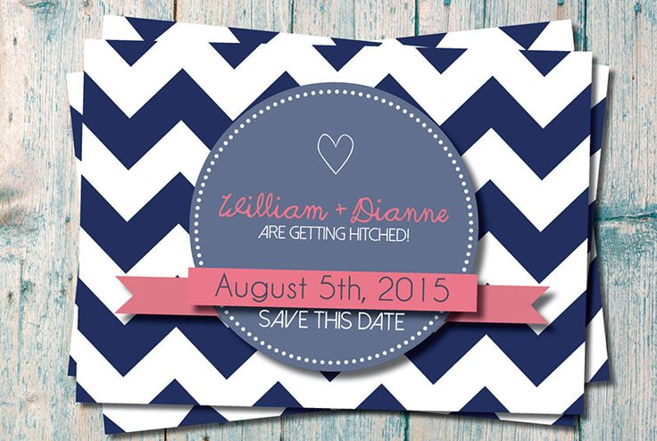 Love Story Invitations @Etsy, Chevron Save The Date ($16.50)