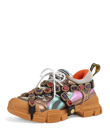 dc6761da1bc Flashtrek Metallic Leather Hiker Sneaker With Chain Strap by Gucci at  Neiman Marcus