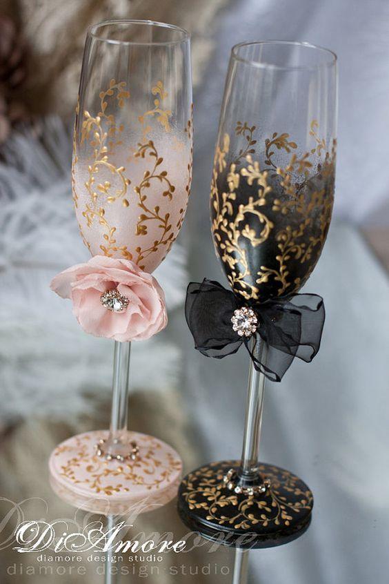 Blush gold black Wedding Champagne glasses / http://www.himisspuff.com/blush-and-black-wedding-ideas/4/