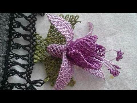 Iğne oyası Küpeli çiçek modeli - YouTube