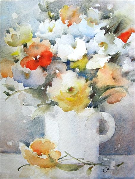 A Bunch of Flowers  Original Watercolor Painting by CMwatercolors, $80.00