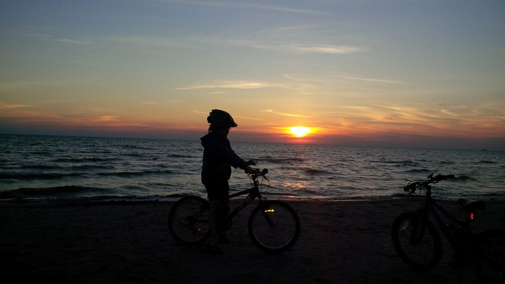 Sunset bike ride at Sauble Beach