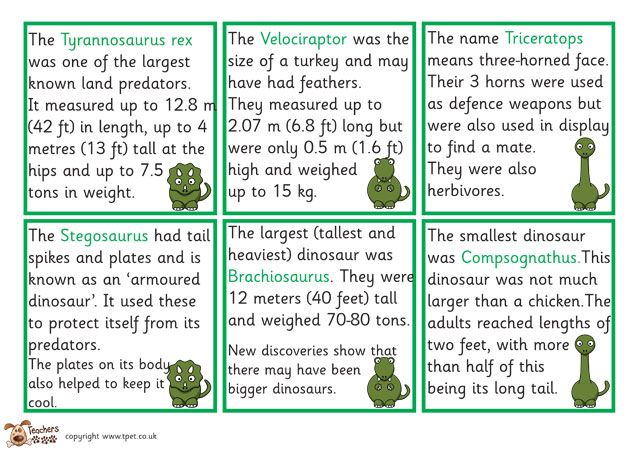 Teacher's Pet - Dinosaur fact cards - FREE Classroom Display ...