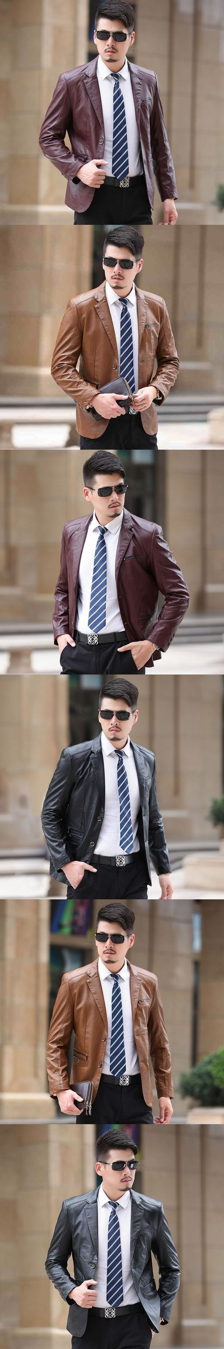 Leather jackets men's suit collar men leather suit slim single-breasted leather jacket male spring fashion black brown big size