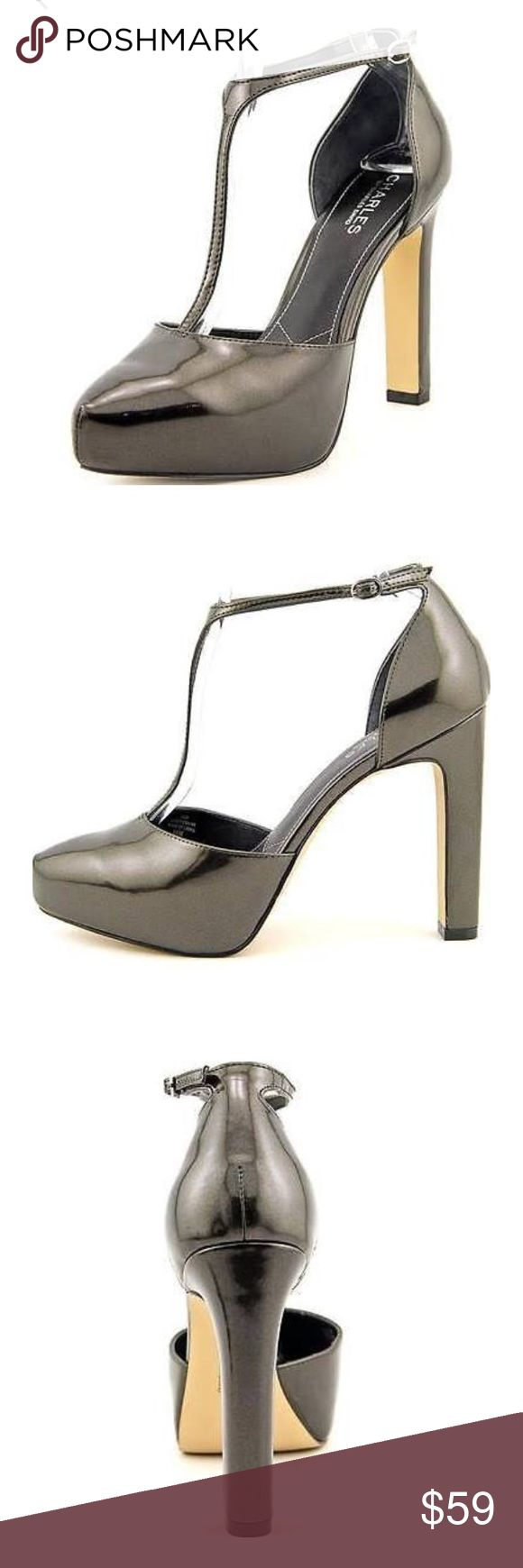 """Charles by Charles David pumps size 8 M A pewter pearl patent t-strap platform Floyd from Charles by Charles David! Pearlized faux patent leather upper T-strap styling with an adjustable buckle Almond toe 1"""" hidden platform, 4½"""" covered heel Synthetic sole Charles David Shoes Platforms"""