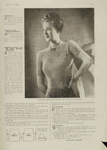 The Vintage Pattern Files: 1940's Knitting - Neat & Feminine