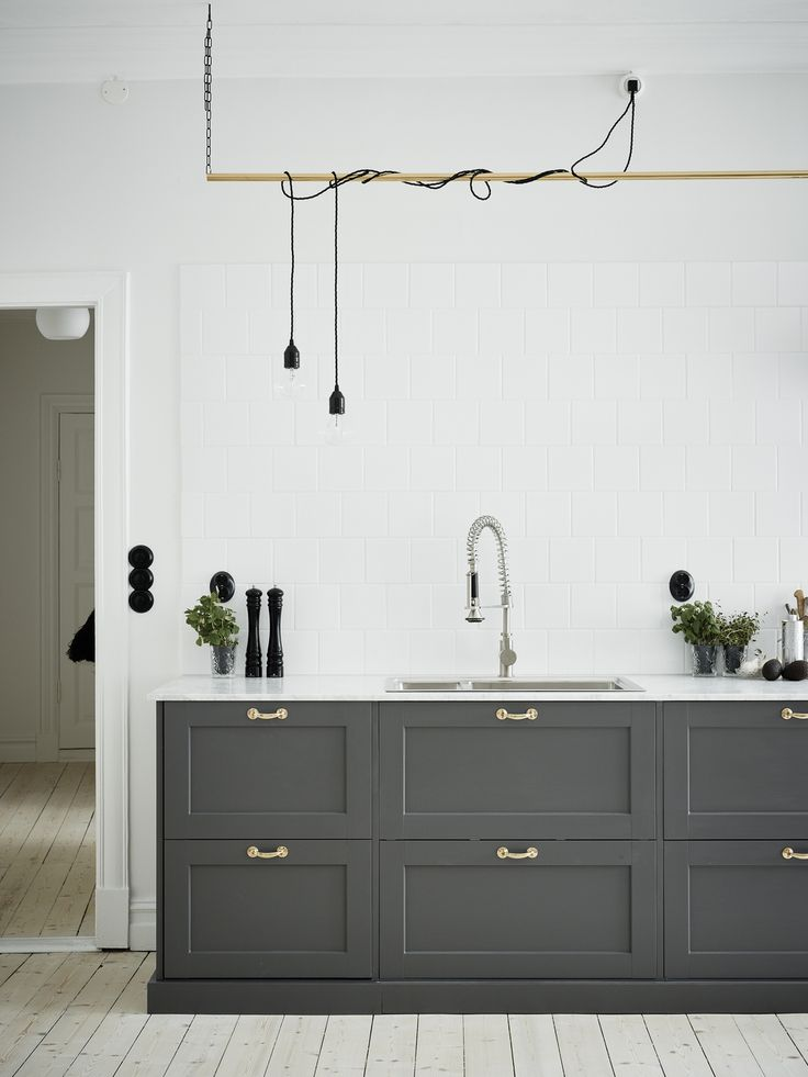 Grey Kitchen and hanging Pipe pendants