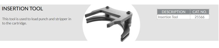 Insertion tool 25566 - used to load punch and stripper in the Trumpf style cartridge