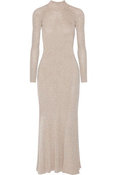 Cédric Charlier - Cutout Metallic Ribbed-knit Maxi Dress - Gold - IT46