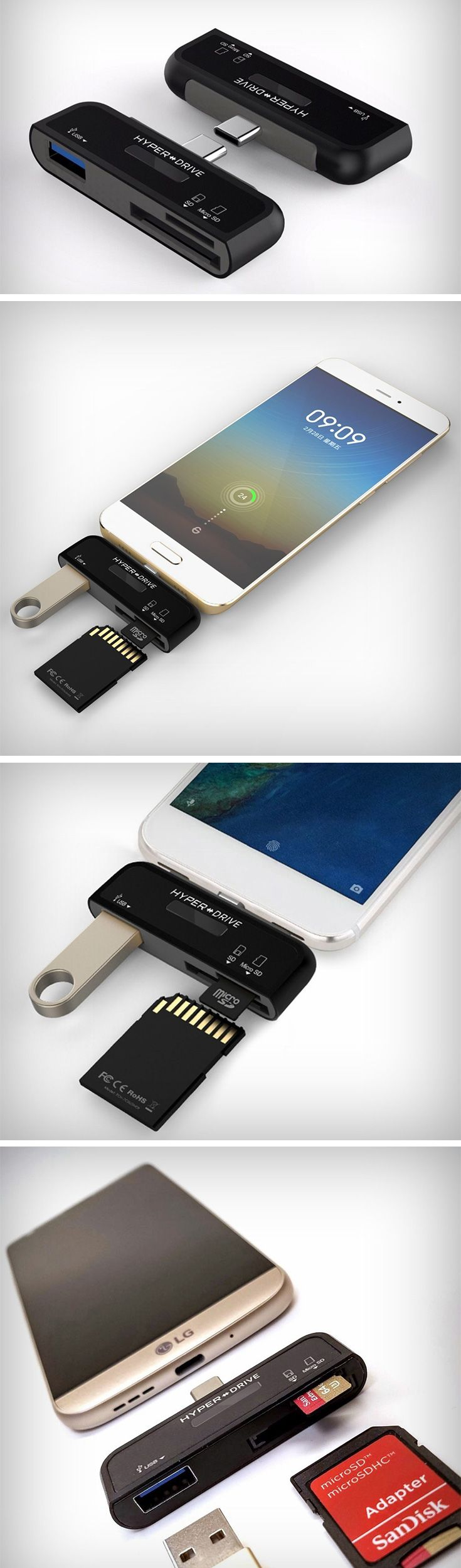 The Hyperdrive Type-C connection kit easily fits in your pocket and expands your phone's possibilities. Plug it in, and you've got a regular USB port, and two card-readers for SD and MicroSD cards. You can now literally plug any USB drive into your phone and either transfer data to it, or retrieve data from it.