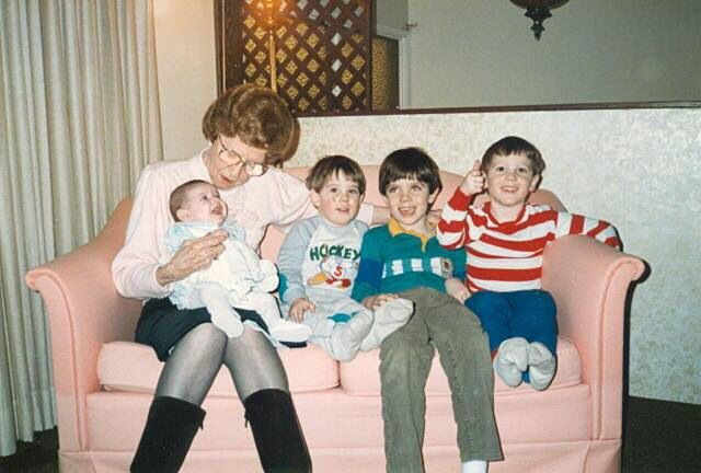 Grandmother Rita with Baby Hayley, Sean, Tyler and Blake.
