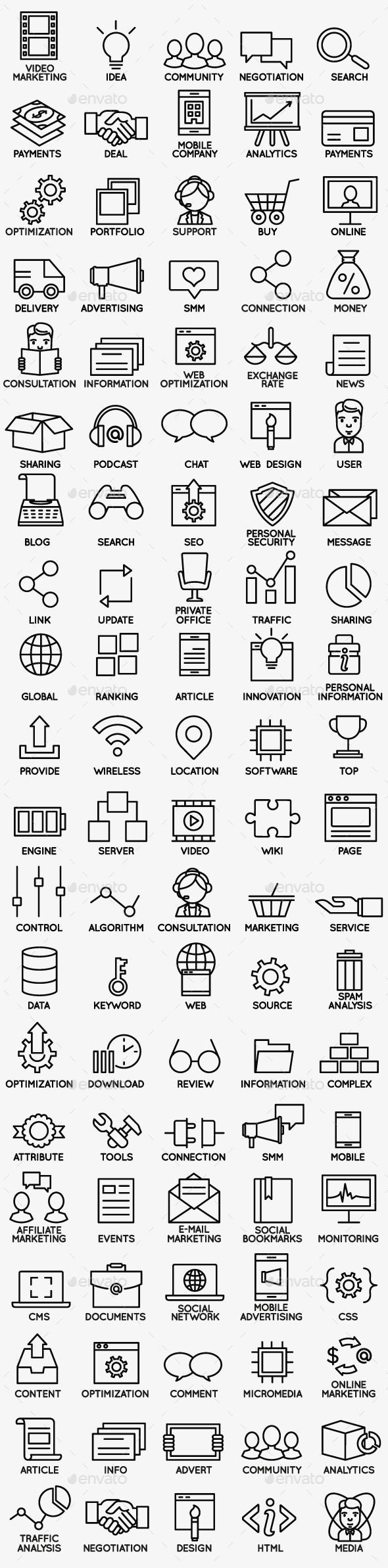 Set of Seo and Internet Service Icons part 1 — Vector EPS #symbol #profitability • Available here → https://graphicriver.net/item/set-of-seo-and-internet-service-icons-part-1/12422432?ref=pxcr