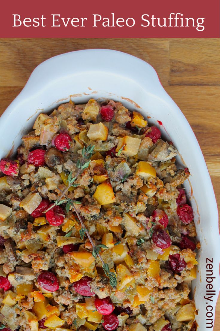 Gluten-free Paleo stuffing (ground pork, mushrooms, eggs, onions, apples, cranberries, bell peppers, rosemary, thyme, sage, coconut flour......