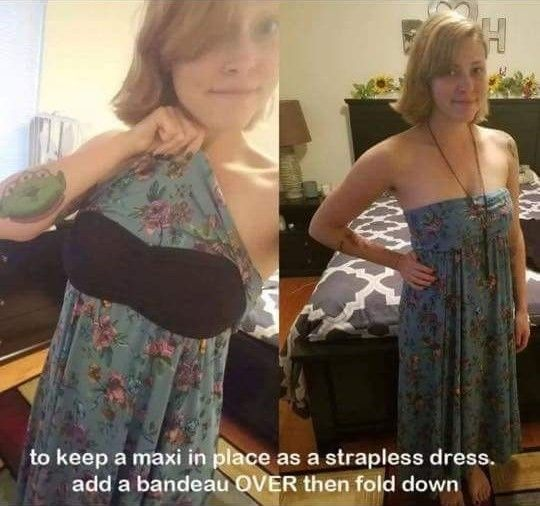 LuLaRoe Styling (using a strapless bra to keep a Maxi, Azure or Cassie safely in place)