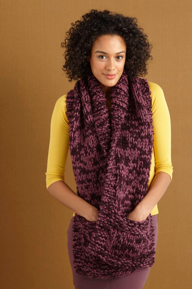 Knitted Wool Scarf with Pockets