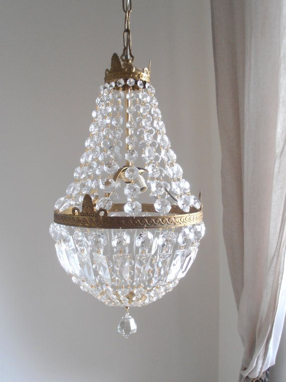 Statement big golden bronze empire style 3 lights vintage crystal chandelier 1950s completely renewed