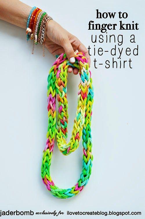 iLoveToCreate Blog: Finger Knitting with Tie Dye Shirt Yarn
