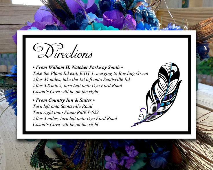 """DIY Wedding Directions Card Template - Peacock Wedding Invitation Insert """"Stained Glass Feather"""" Regency Malibu Light Turquoise DIY Wedding by PaintTheDayDesigns on Etsy"""